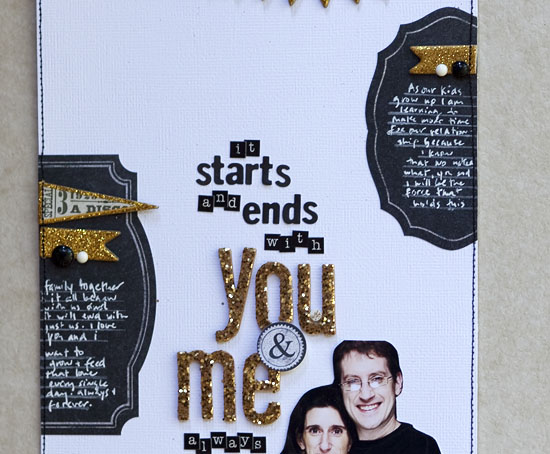 Mixing old and new scrapbooking product- Karen Grunberg for MME