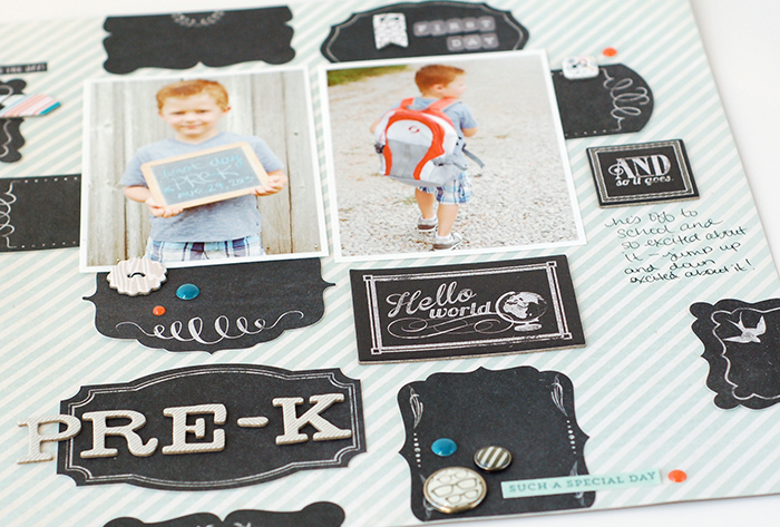 Chalkboard Inspired Scrapbook Layout | Valerie O'Neall for MME