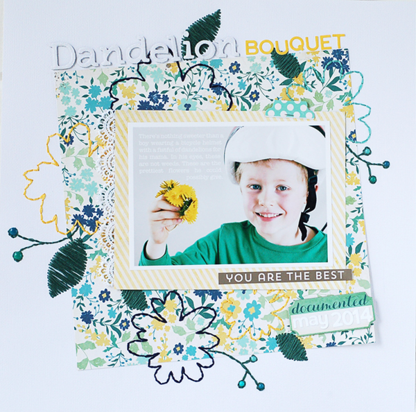 Using #Stitching to Enhance Patterned Paper Designs // via MME  #scrapbooking